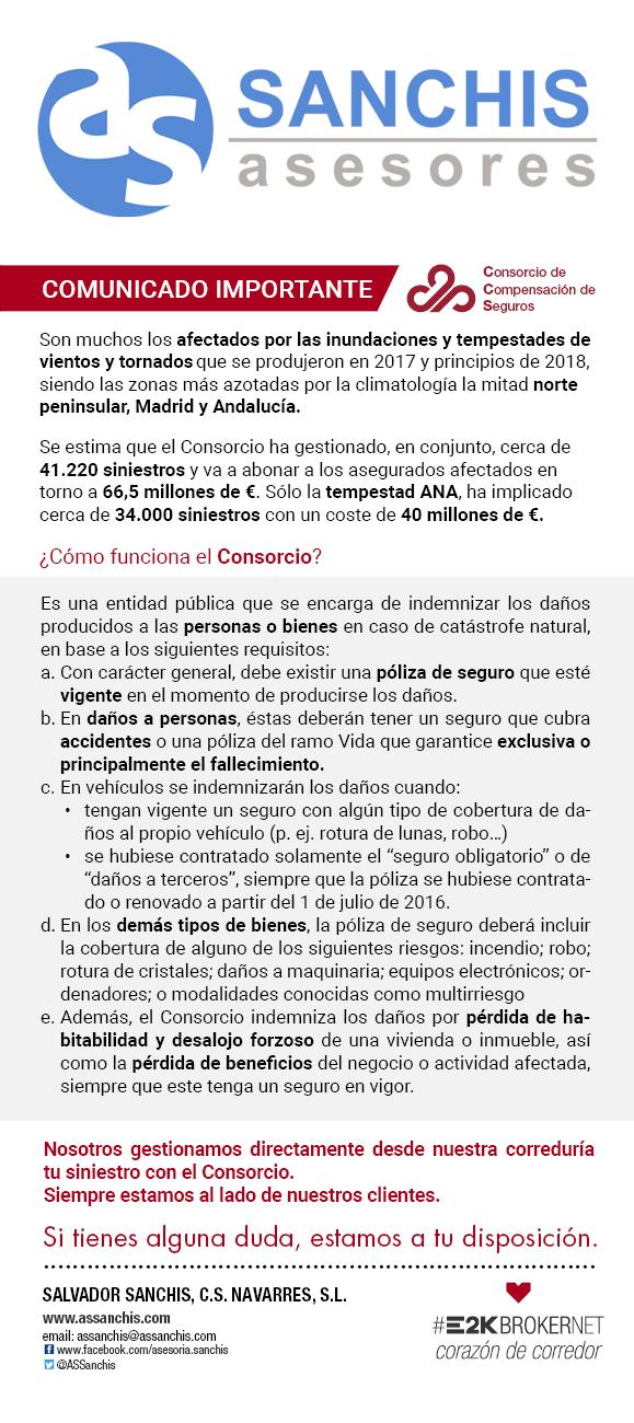 Requisitos para indemnizaciones del Consorcio de Seguros en Sanchis Asesores